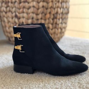 Chloe Double Buckle Suede Ankle Boots 7.5M